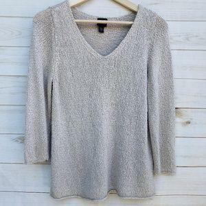 Eileen Fisher S 3/4 sleeve sweater linen blend